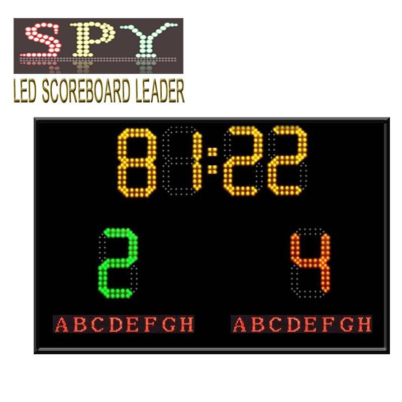 Electronic football scoreboard with team name and time display