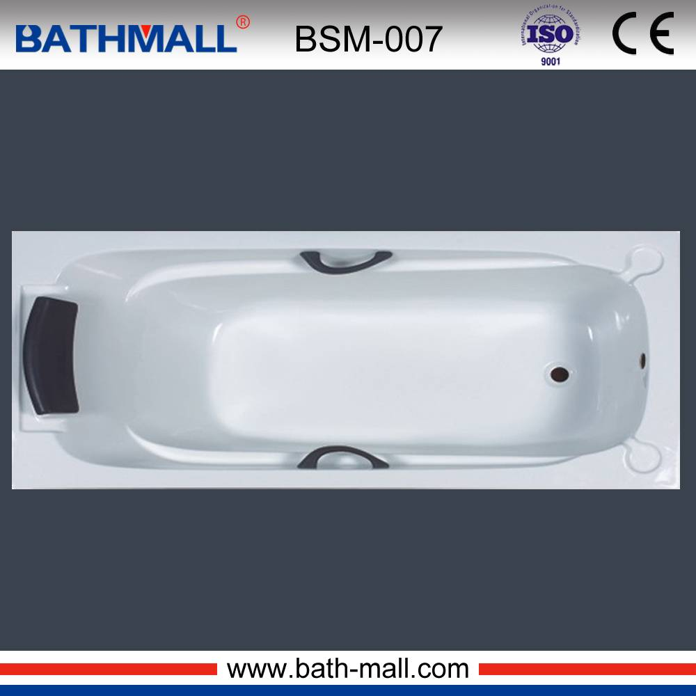 Modern drop in acrylic bathtub with PU handles