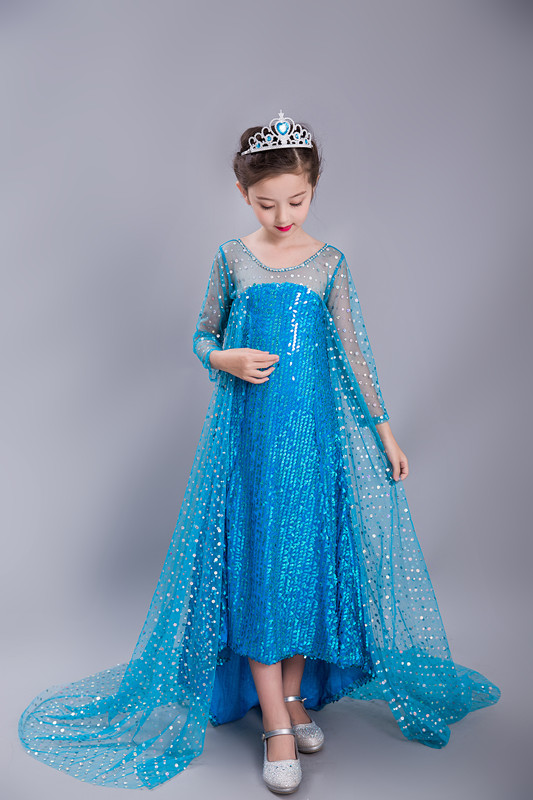 Party Dress Princess Dress for Elsa Costumes with Shining Long Cape