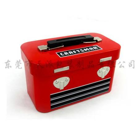 red rectangular metal lunch box