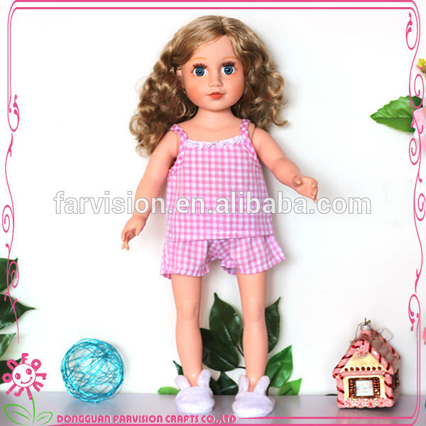 Little girls baby doll pink plaid cotton dresses for doll
