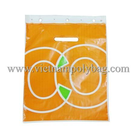 Die cut punch out handle block head plastic bag