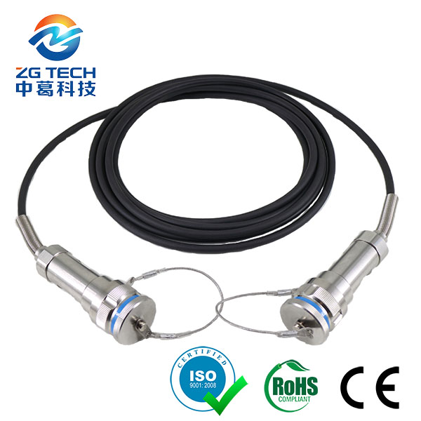 outdoor waterproof 7.0mm TPU Single Mode 8Core Fiber Optic Patch Cable for Military Tactical