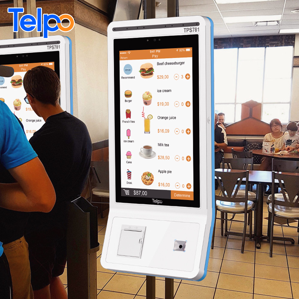 Burger King Partner Telpo food ordering machine bill payment self-service kiosk with printer for
