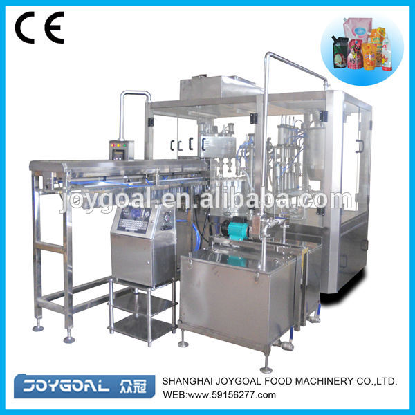 Automatic spouted liquid soybean milk pouch filling and caping packing machine/stand up pouch fillin