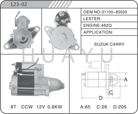 SUZUKI STARTER MOTOR CCW 462Q 31100-85020