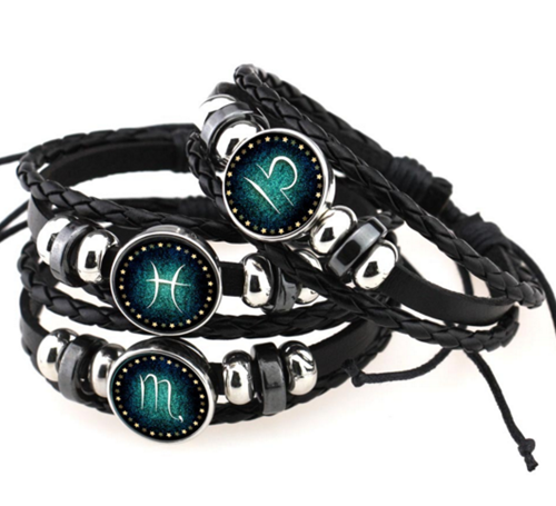 Retro Hand Woven Leather 12 Constellation Bracelet