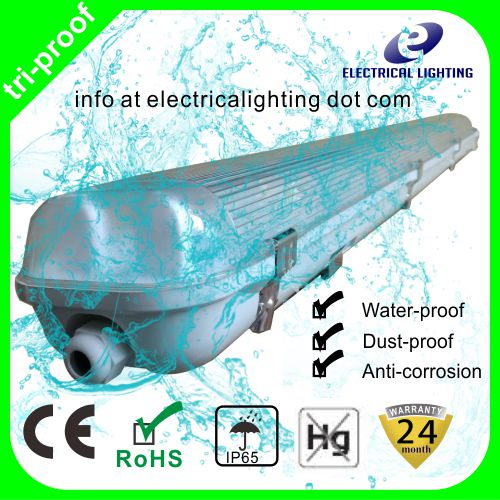 ABS Based + clear stripped PC cover 1200mm T8 Vapor tight linear lighting fixture ip65 led tri-proof