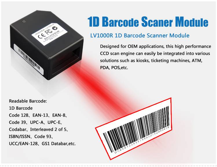 LV1000R 1D OEM Barcode Portable Scanner with Cover IP54 Industrial Grade