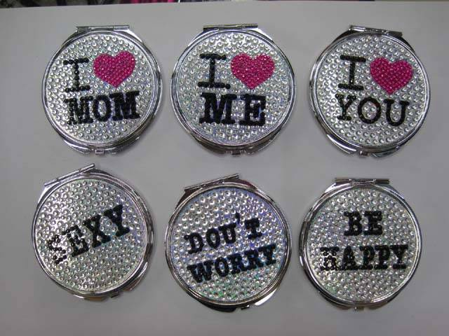 Stone Words Pattern Pocket Mirror