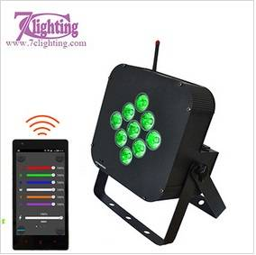 7c-LPB9A 9 RGBWA+UV Battery LED Par DMX 2.4GHz WiFi Event Uplighting