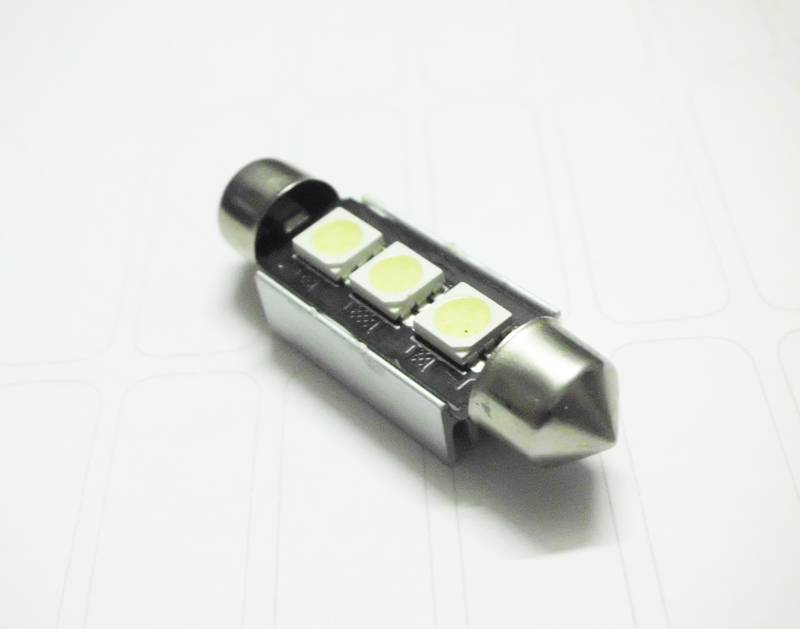 39mm 3SMD 5050 Pure White Canbus Error Festoon Car LED Dome Light Bulb