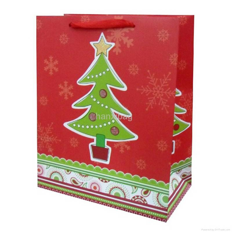 Colorful Printed Christmas day shopping paper bag