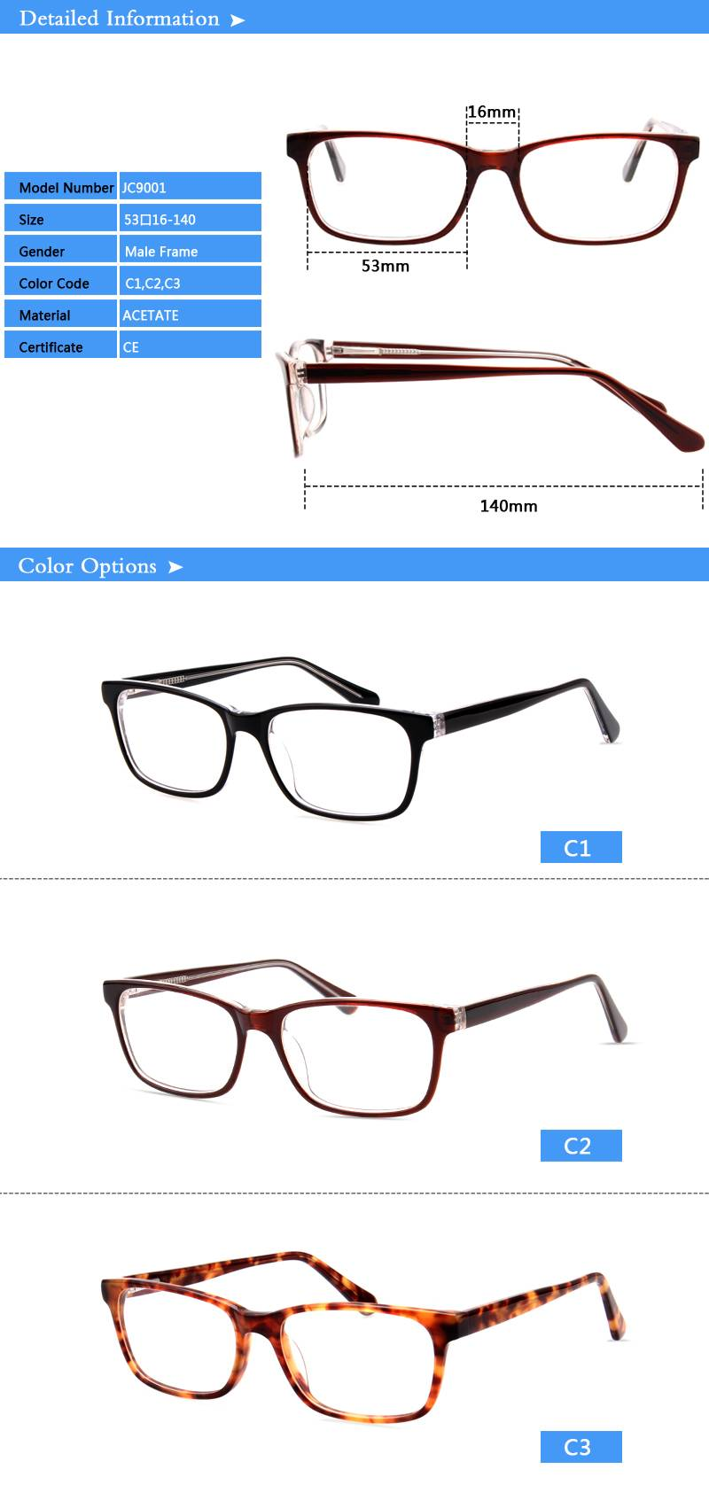 Fashion design acetate eyewear optical frame JC9001 ready in stock