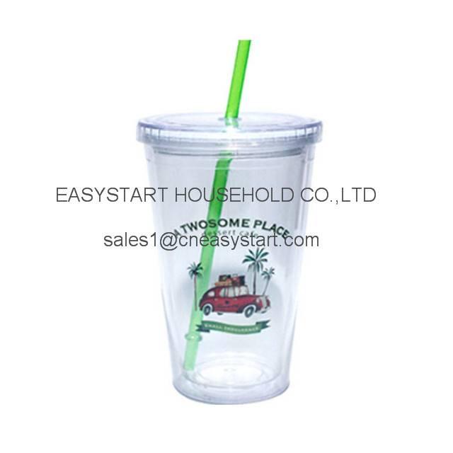 16OZ tumbler, double wall plastic tumbler,BPA FREE tumbler with straw