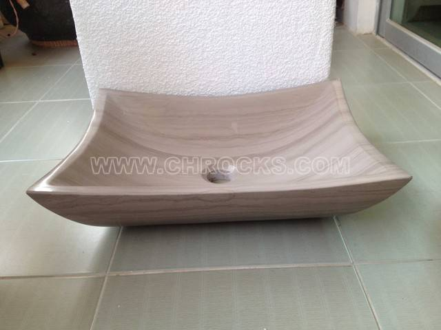 Grey wooden marble vessel sink