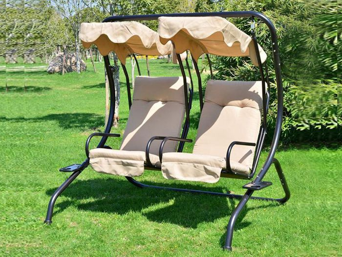 Sand Outdoor Garden Patio Covered Double Swing with Frame
