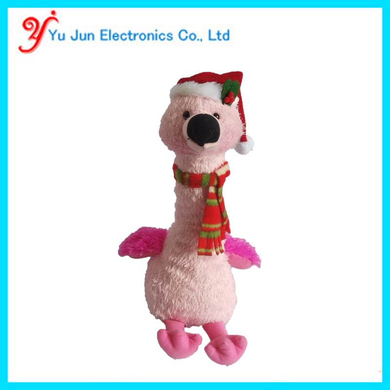 Christmas musical singing and dancing flamingo plush toy