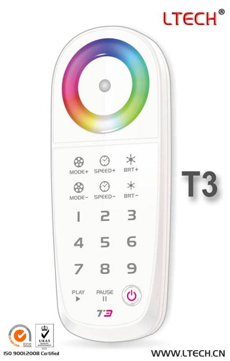 LED RGB wireless touch controller one-to-multiple receivers RF wireless sync control DC12v-24v 5A*3C
