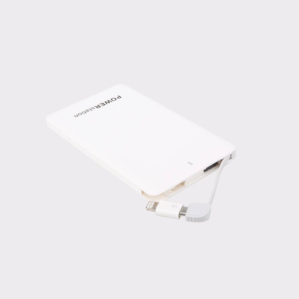 Factory Supply Portable Slim 4000mah Power Bank Charger with Built in Micro usb
