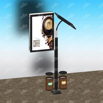 Outdoor solar power double sided custom advertising lamp pole light box with trash can