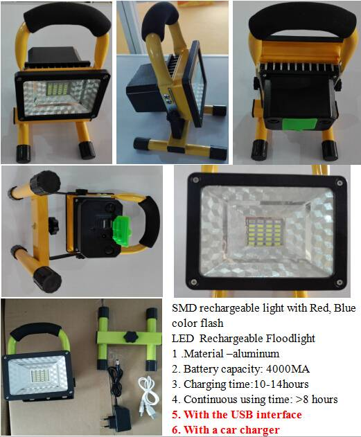 Rechargeable flood light SMD with flash