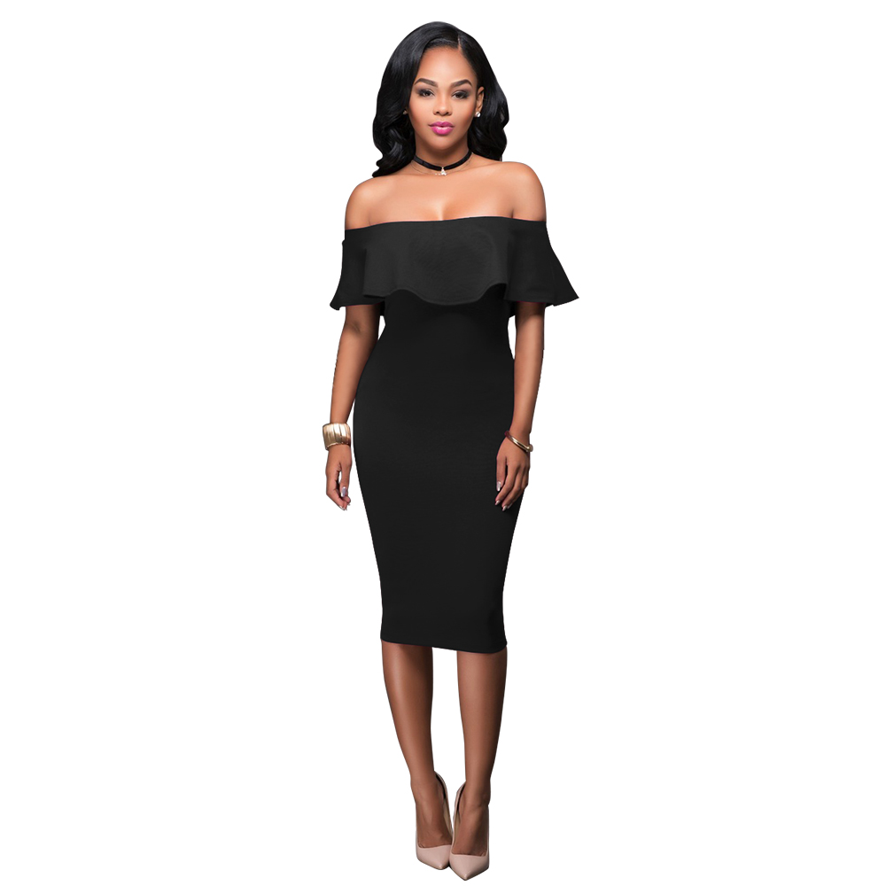 2018 Hot Sale Style Short Sleeve Knee Lenght Elegent Lady Dress Off Shoulder with Ruffles Slim Sexy