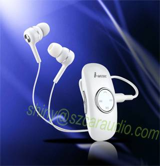 Wireless Stereo Bluetooth Headset Hands Free Universal A2dP Clip-on Collar/Coat Bluetooth Earphone V