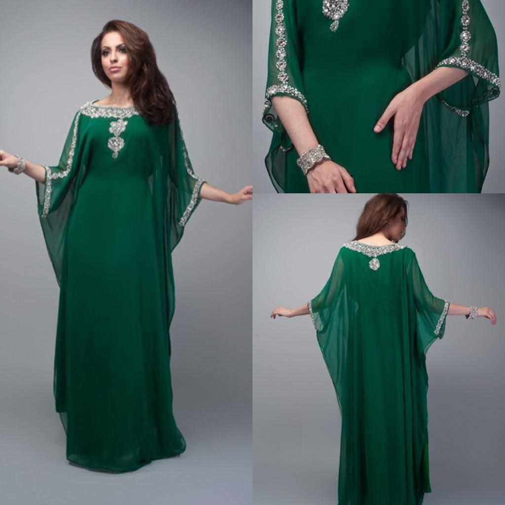 2014 Green Chiffon Applique A line Scoop Arabic Kaftan Dubai Half Sleeve Floor Length Long Evening D