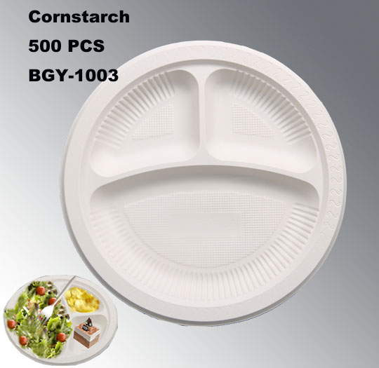 10 inch Biodegradable Disposable Cornstarch Plate Dish BGY-1003 with 3 compartments