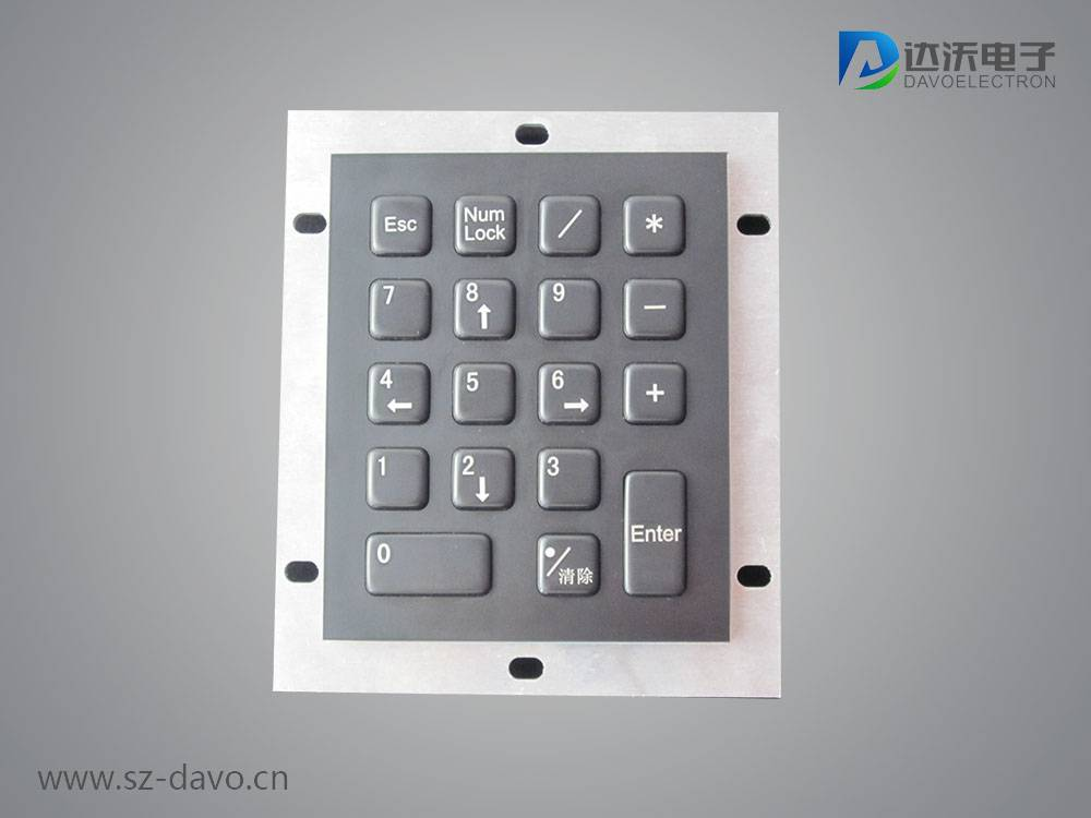 Metal Numeric Keypad with 18 Flush Keys Black