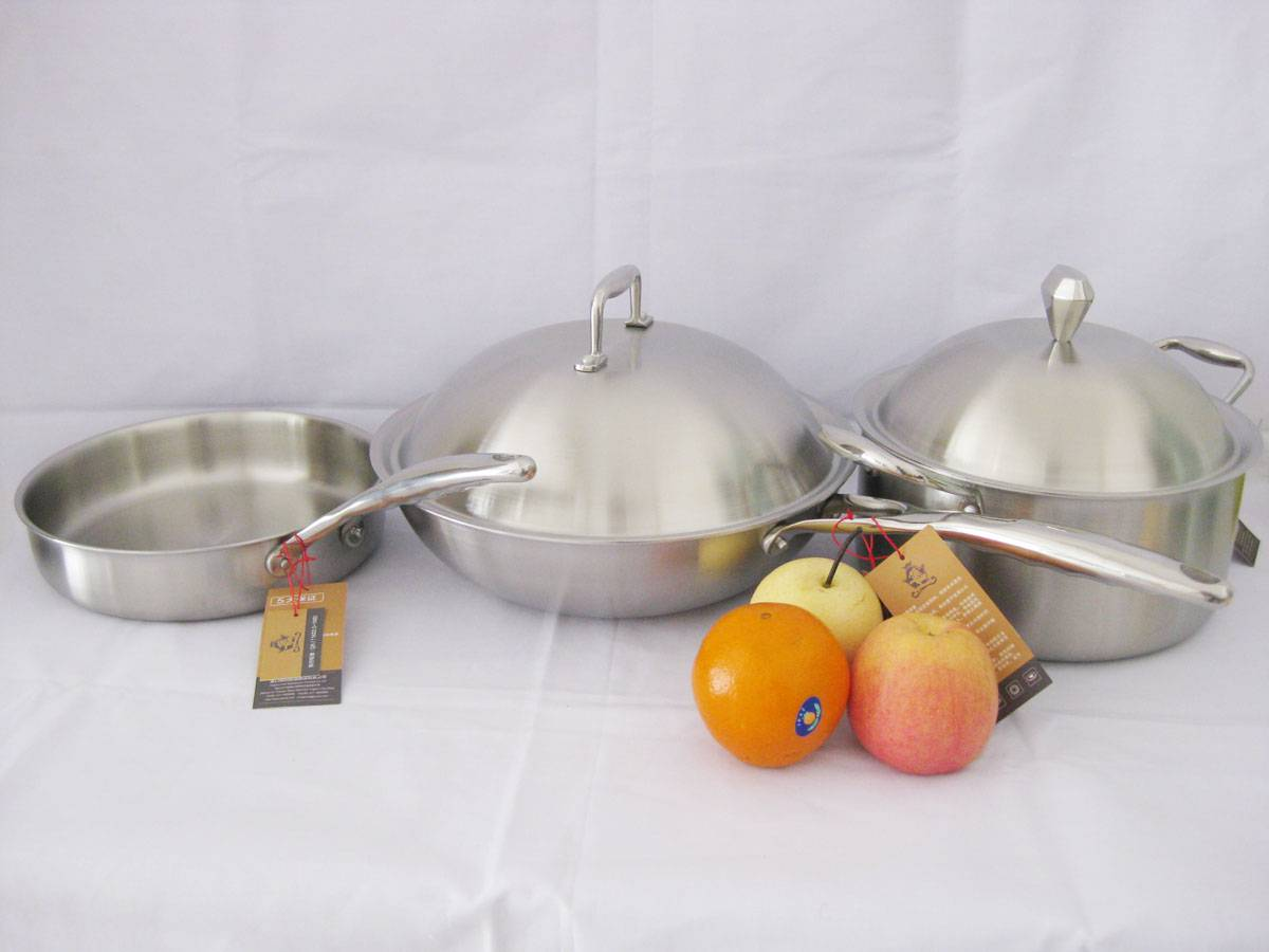 Tri-ply cookware SHONLI-F-09,wok,frying pan with saucepot,thickness 2.5mm