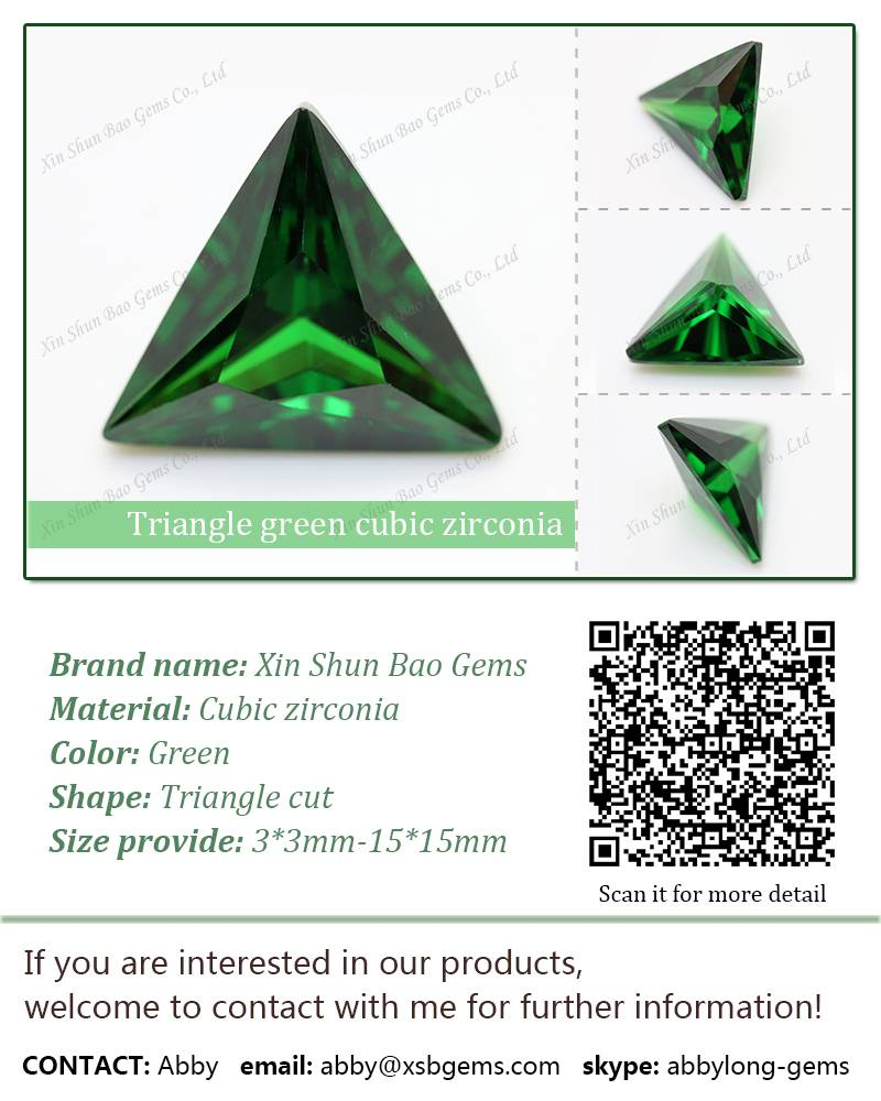 Triangle green cubic zirconia gemstone