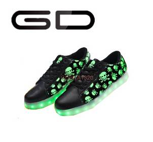GD USB charge led shoe light sneakers adult flash shoes