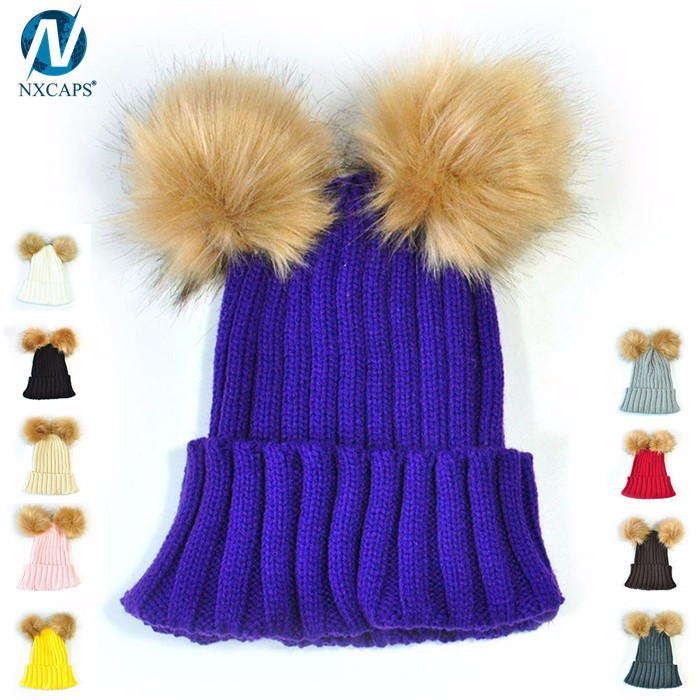Wholesale fur knitted winter hats with two fur balls plain beanie cap cuff beanies cute women hat c