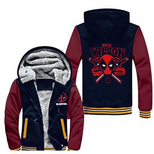 New Deadpool Super Warm Thicken Fleece Zip Up Hoodie Men's Coat Free Shipping Wade Wilson movie
