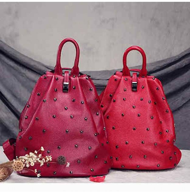 Genuine leather backpack high quality leather studded backpack with special design EMG4338
