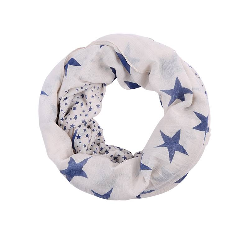 Spring summer light weight light color stars pattern scarf infinity scarf