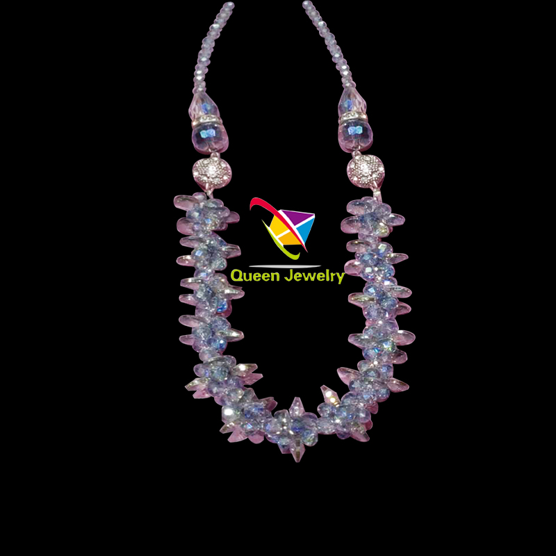 silk thread necklace shiny crystal hand-crafted design Beaded Choker jewelry