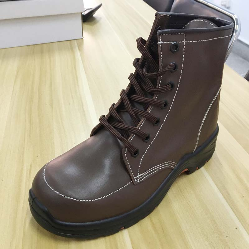 Waterproof Brown Leather High Cut PU Injected Sole Safety Shoes