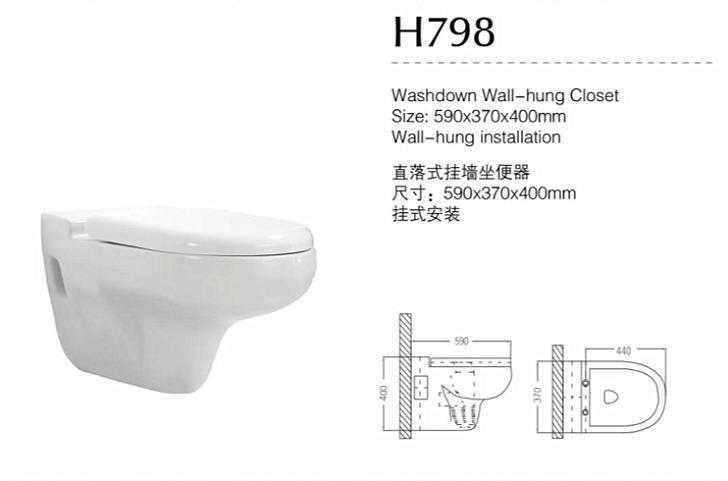 Hot Sale Sanitary Ware Washdown Wall-Hung Toilet