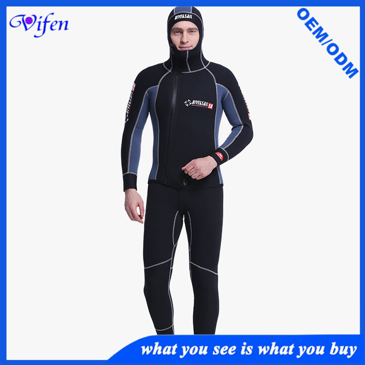 mens 5mm two piece SCR wetsuit with cap nylon with mercerized cloth best quality