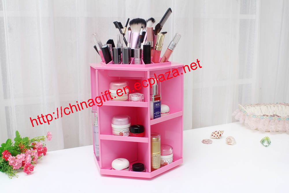 360 degrees rotate makeup box.Desktop cosmetics storage box rotating oversized make-up storage rack