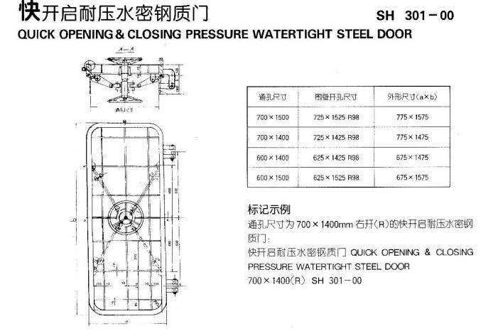 Quick open &close pressure watertight steel door