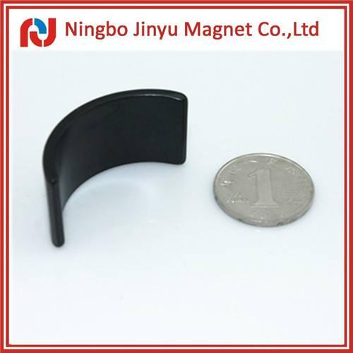 arc shape grade n35 epoxy black coated neodymium magnet for sale