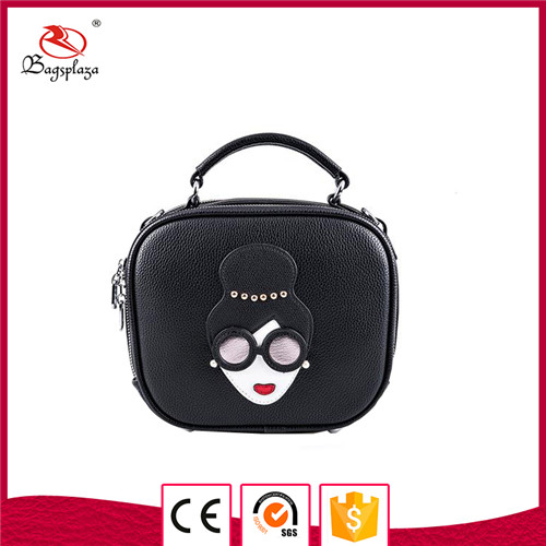 Fast selling cheap price PU small bag grained purse lady black bag