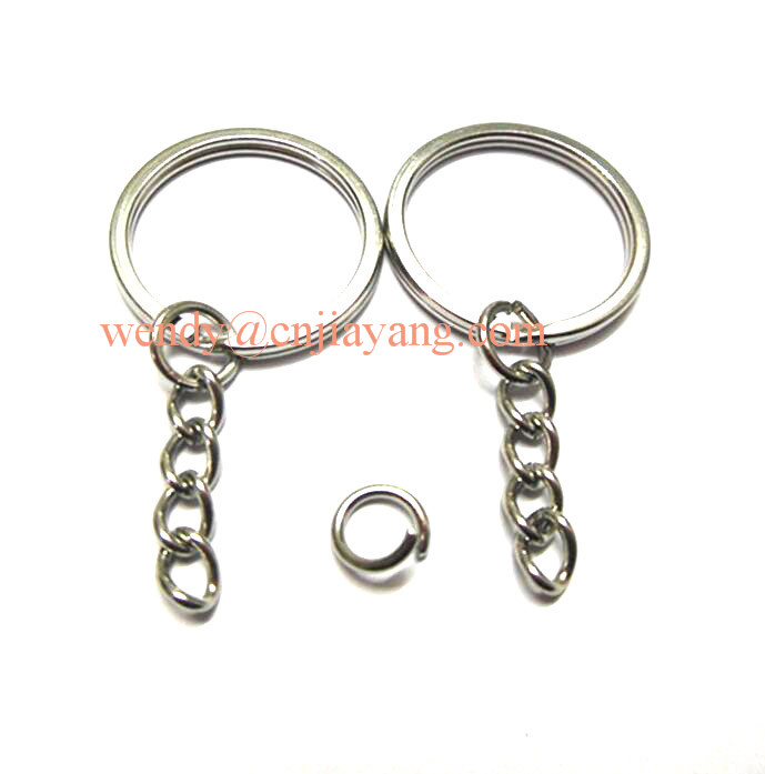 high qualty keychain holder metal key flat ring with chain link