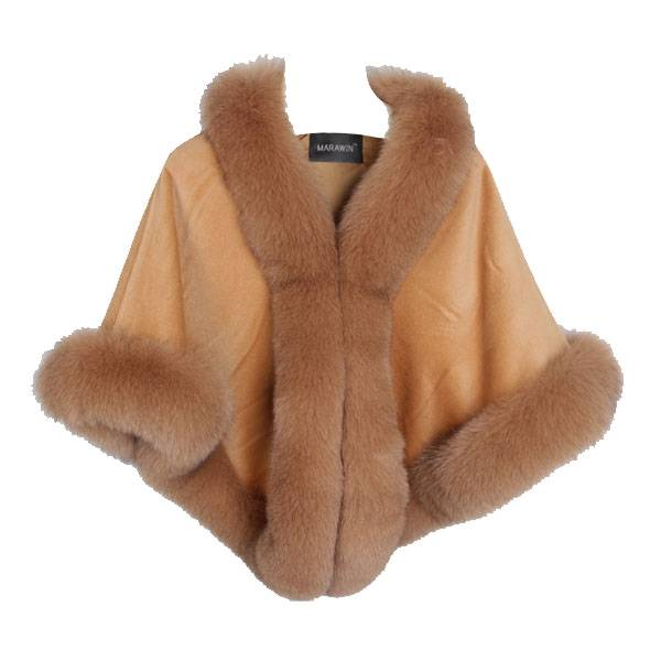 Elegant lady's poncho with genuine cashmere real fox fur shawl