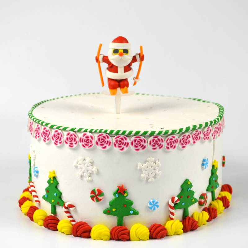 Polymer clay Christmas skating santa claus cake decoration topper