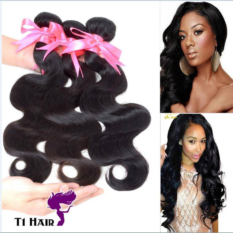 T1 Hair 6A 3 Bundles Brazilian Virgin Hair Extensions Body Wave Weft Unprocessed Remy Human Hair Wea